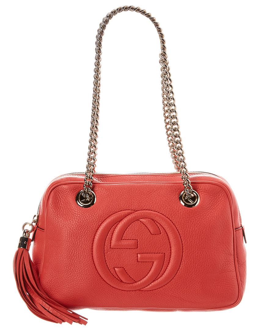 9a924c6e069 Lyst - Gucci Pink Leather Soho Chain Shoulder Bag in Pink