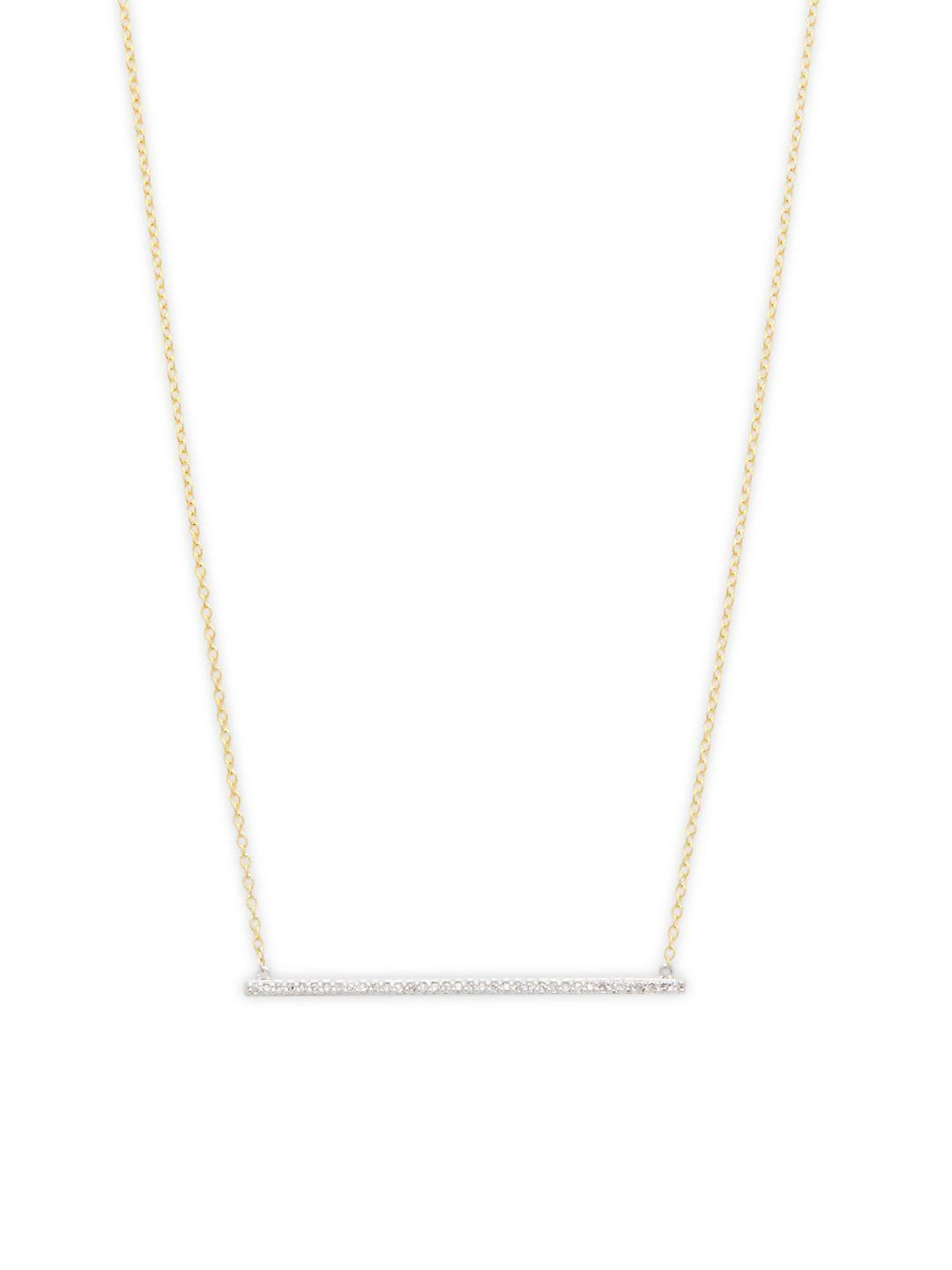 Danni Diamond And 14k Yellow Gold Thin Bar Pendant Necklace in Metallic