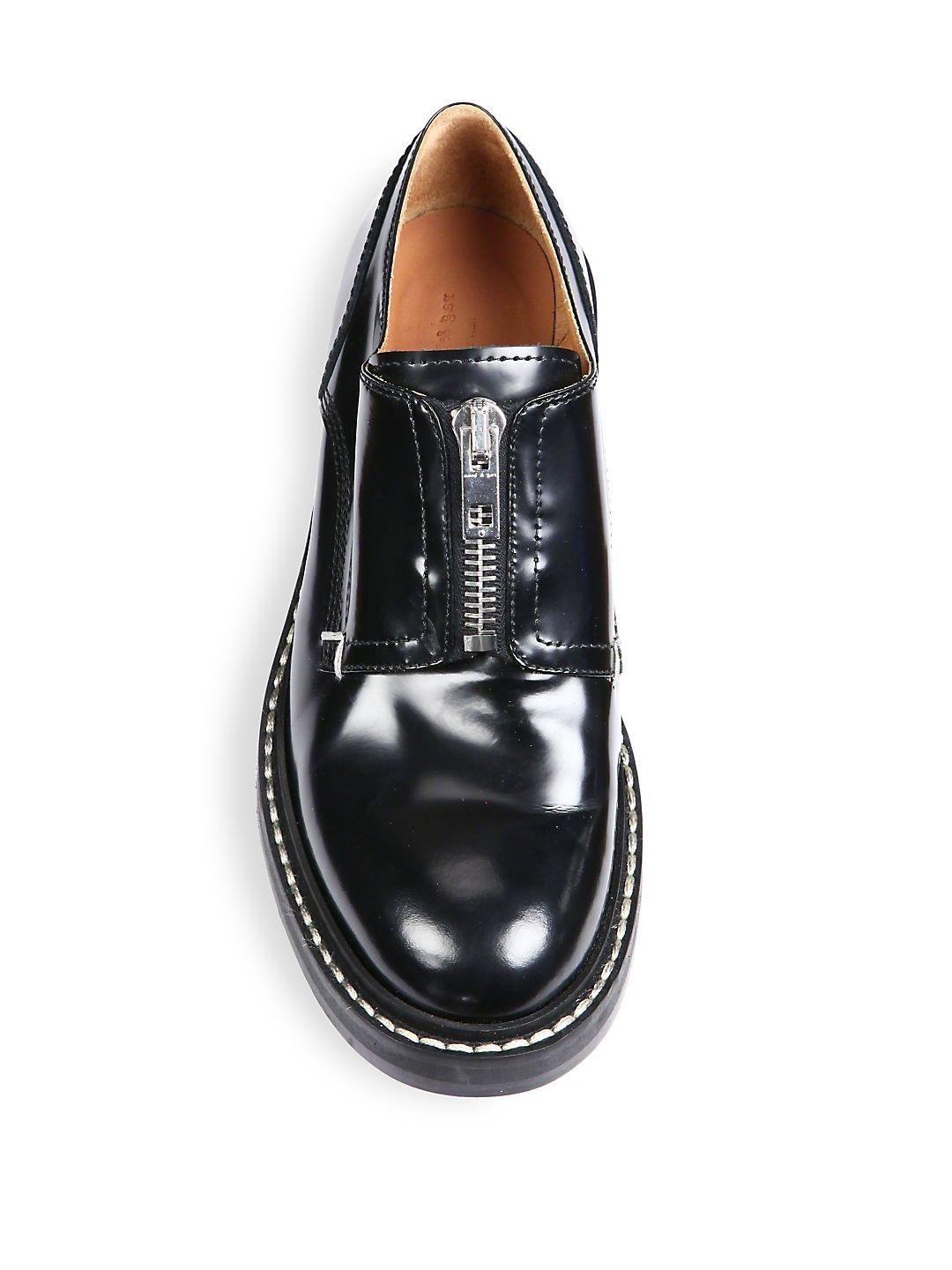 Rag & Bone Saxon Zip-front Leather Loafers in Black for Men