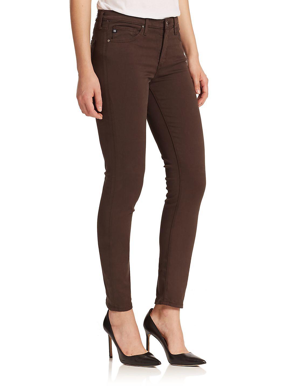 AG Jeans Denim Prima Sateen Cigarette Jeans in Brown