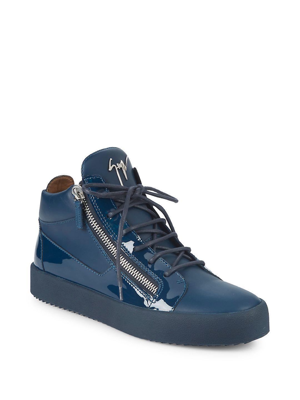 Giuseppe ZanottiDouble-Zip Leather & Suede Mid-Top Sneakers DNV9X
