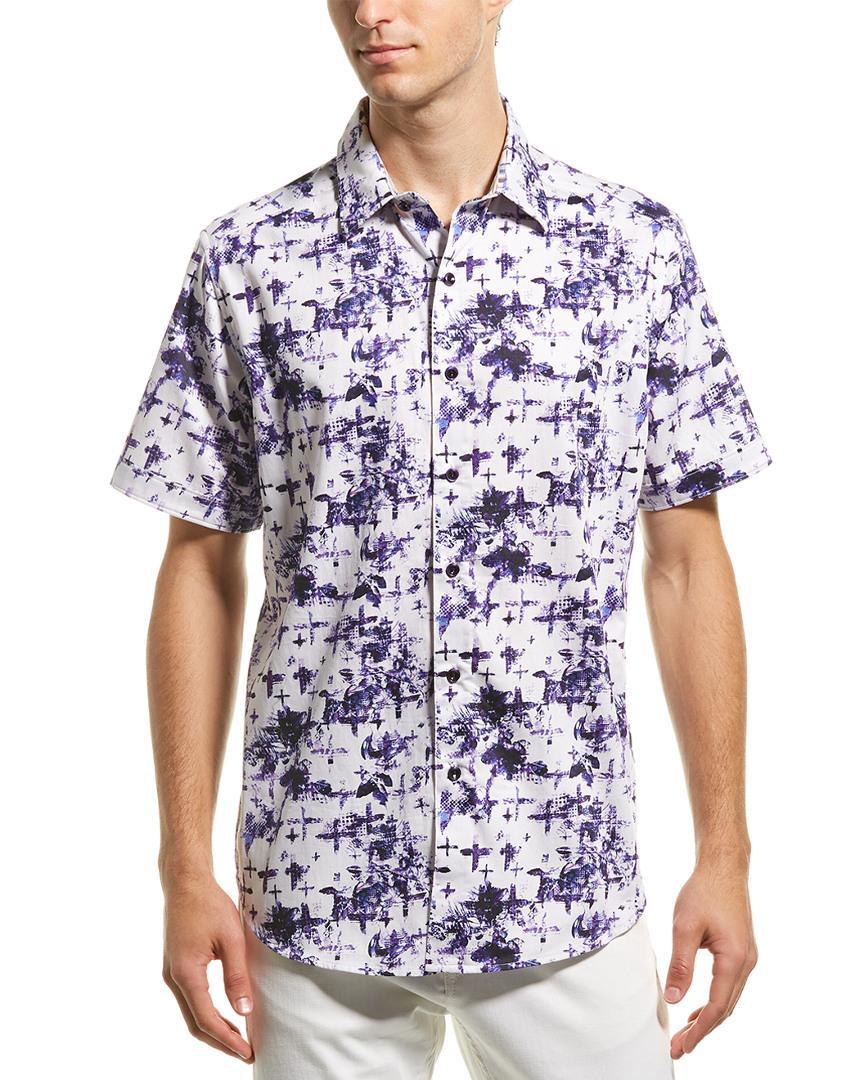 Purple Robert Graham Chadesberry S//S Printed Sport Shirt Classic Fit
