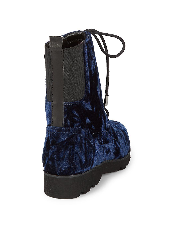 Donald J Pliner Velvet Camren Combat Boot in Blue
