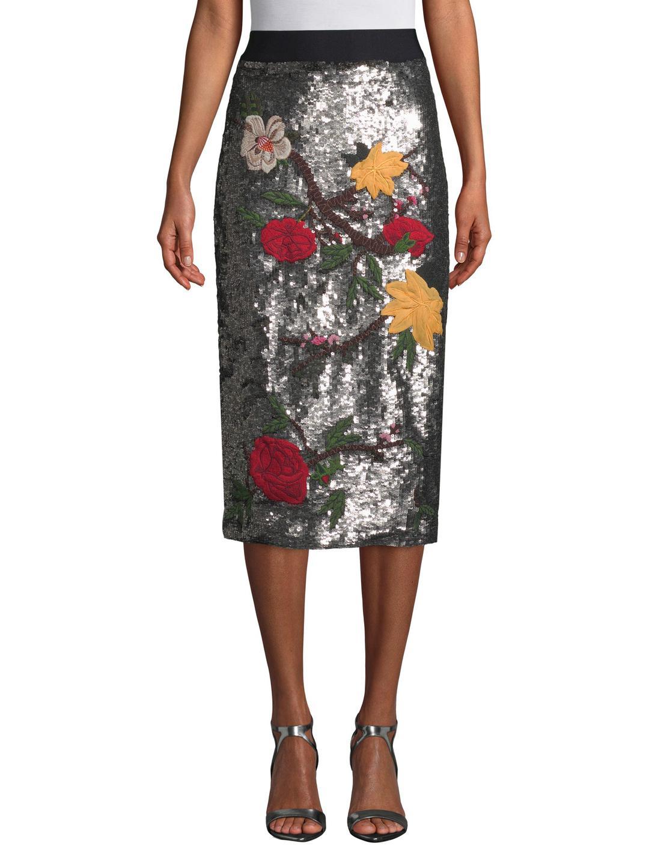 b226a5a1973e Lyst - Alice + Olivia Ella Embellished Straight Midi Skirt