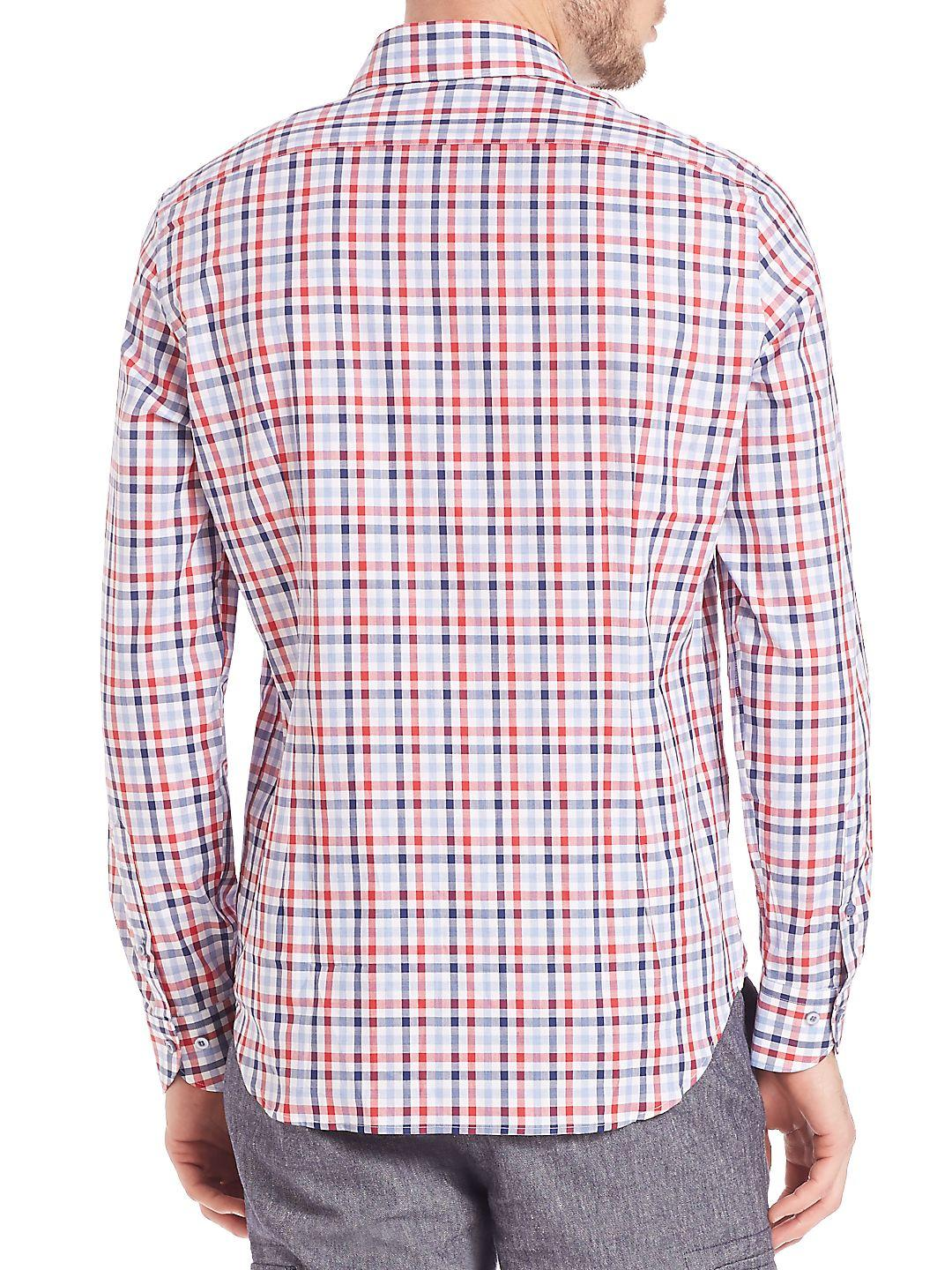 Saks Fifth Avenue Cotton Button-front Checked Shirt in Red for Men