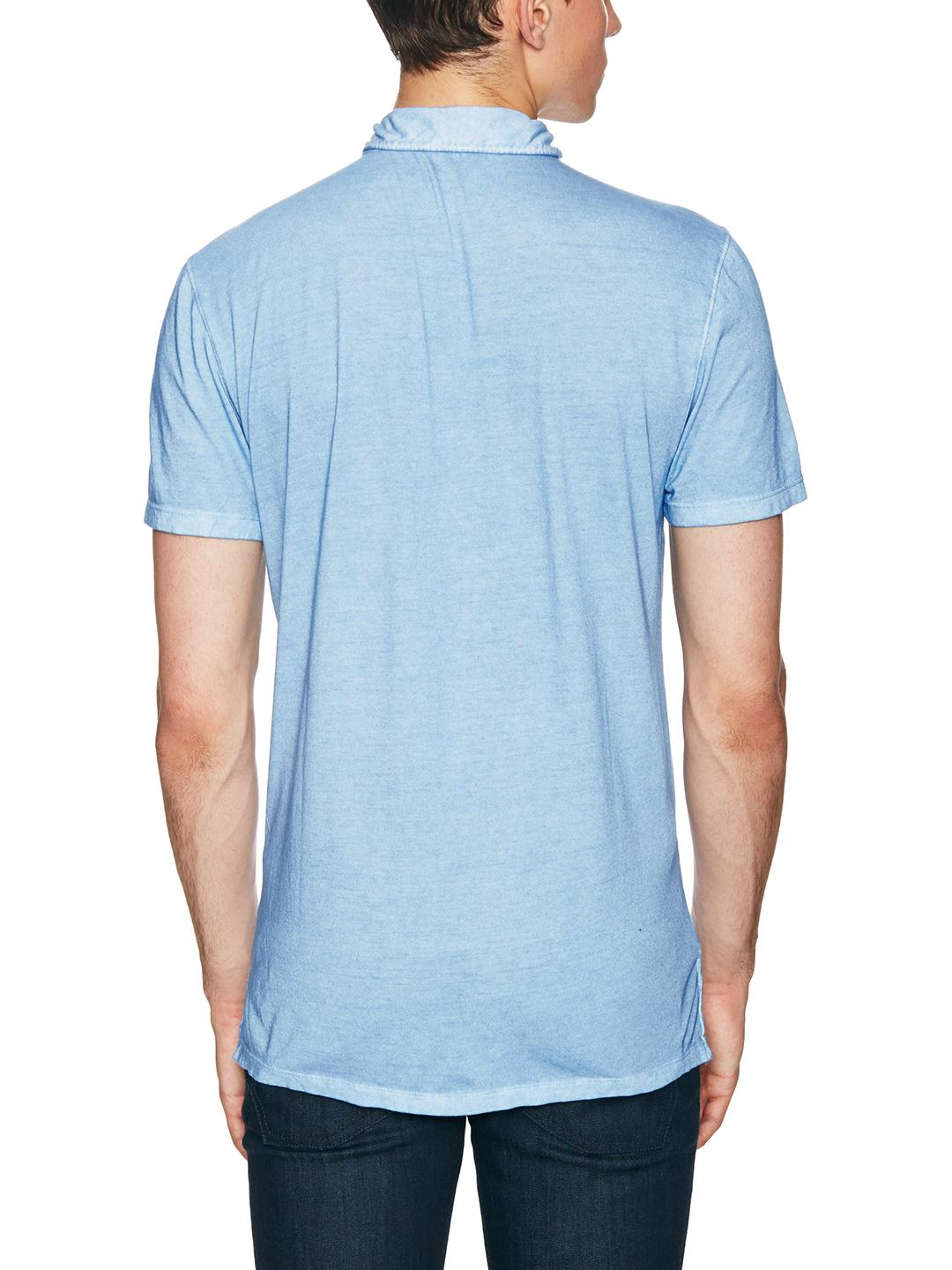 John Varvatos Cotton Distressed Knit Polo Shirt in Sky (Blue) for Men