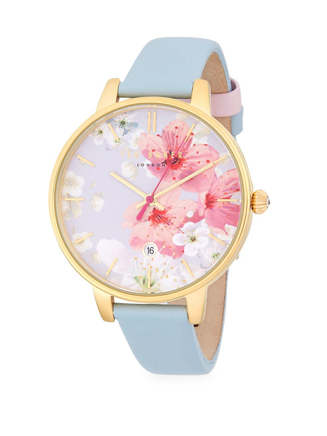 79163b46f Ted Baker Floral Stainless Steel And Leather-strap Watch - Lyst