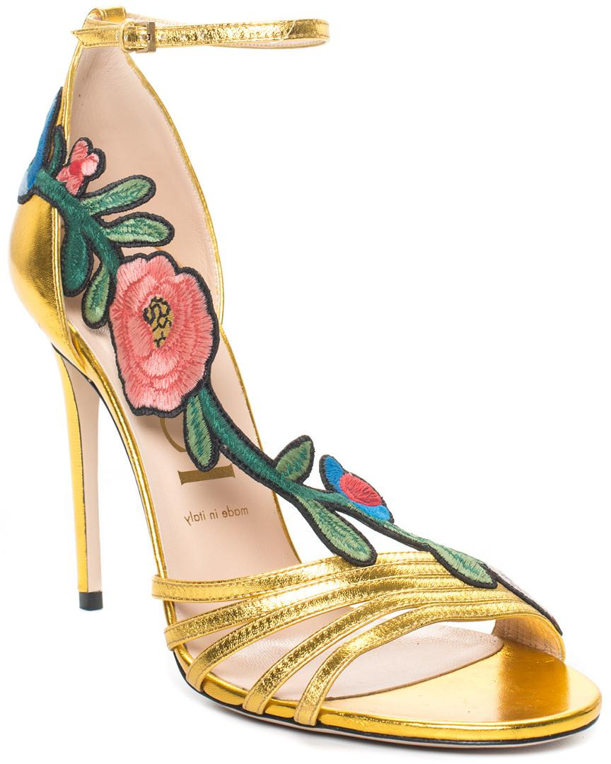 Gucci Gold Leather Ophelia Sandal (size