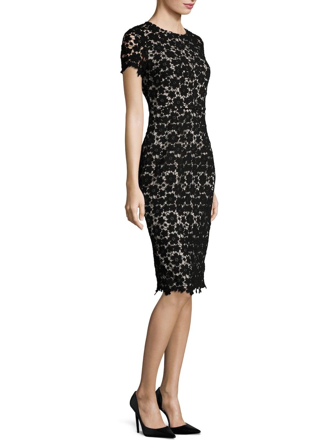 9062d8ee73c Lyst - Shoshanna Beaux Guipure Lace Sheath Dress in Black