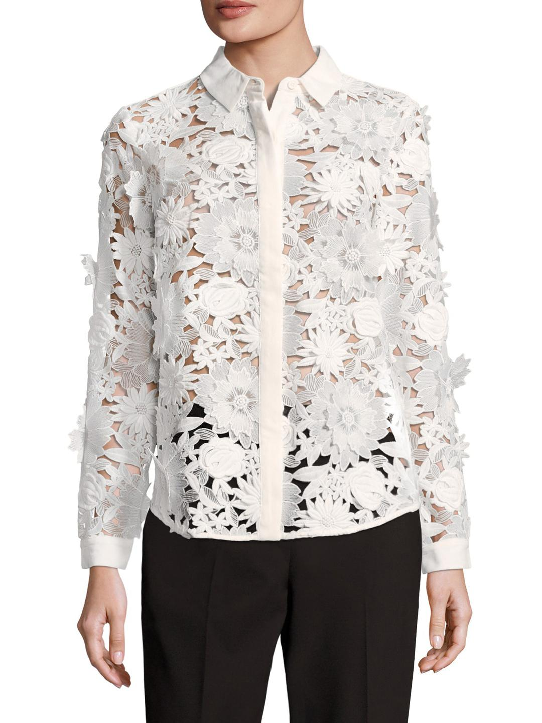 aabc1697032 French Connection Manzoni Lace Shirt in White - Lyst