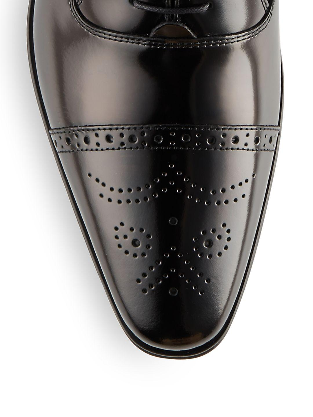 Versace Leather Spazzolato Brogue Oxford Shoes in Black for Men