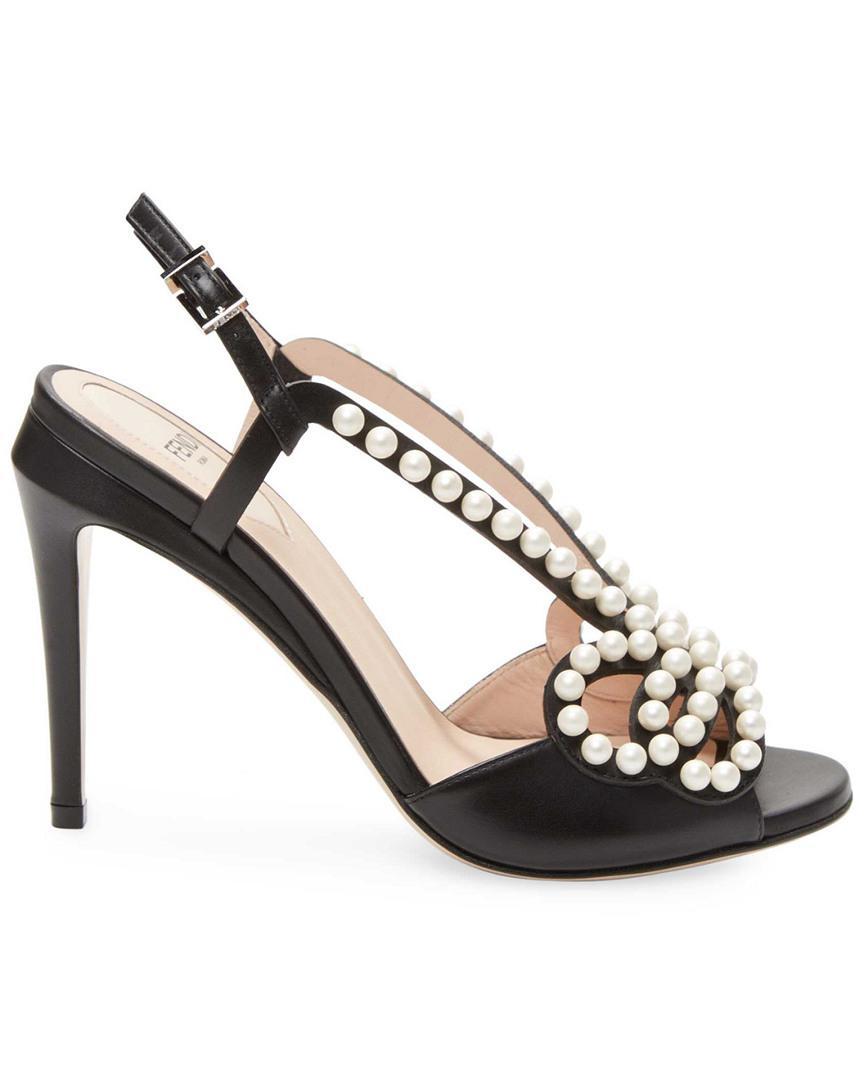 32edb8cd94a6 Fendi - Black Faux-pearl Embellished Leather Sandal - Lyst. View fullscreen