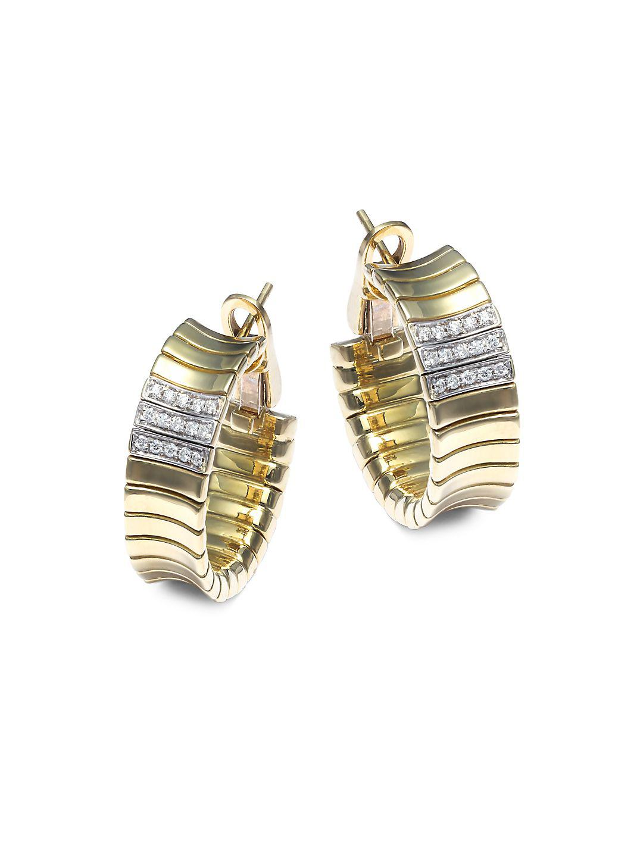 200146a5f1653 Lyst - Chimento Supreme Diamond & 18k Yellow Gold Hoop Earrings in ...