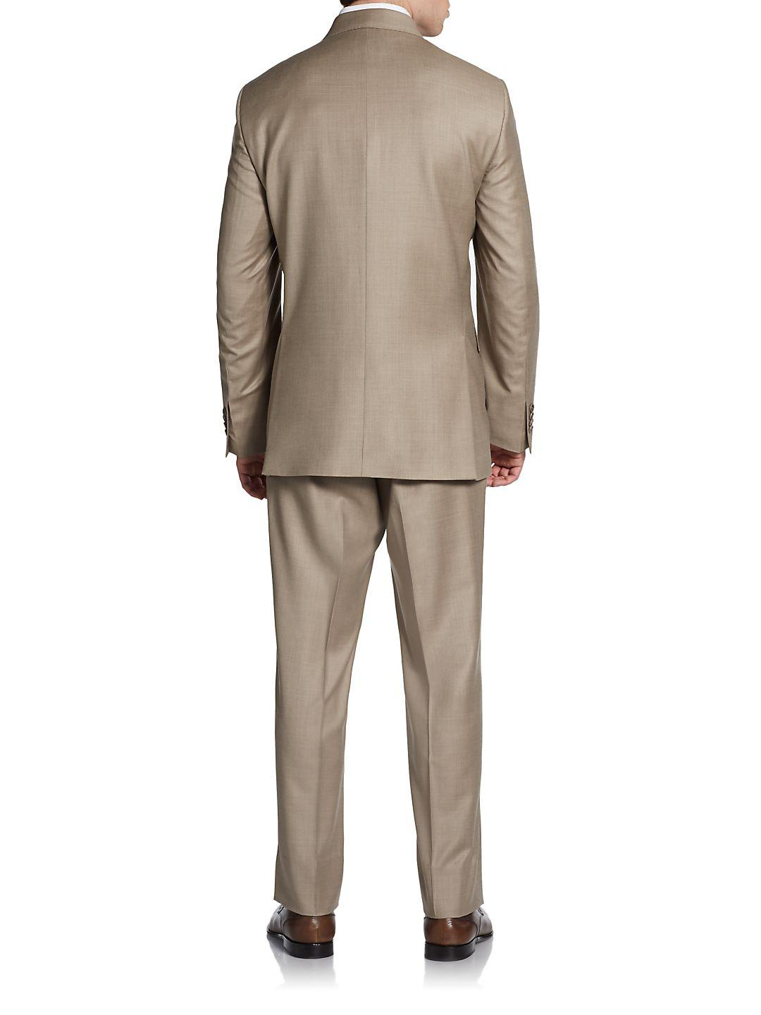 Saks Fifth Avenue Classic-fit Wool & Silk Two-button Suit in Camel (Natural) for Men