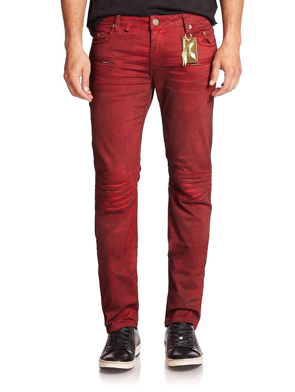 Robin's Jean Denim Motard Moto Jeans in Dusty Red (Red) for Men