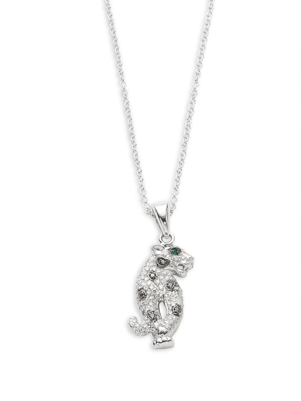 Effy White Diamond, Black Diamond, Emerald And 14k White Gold Pendant Necklace