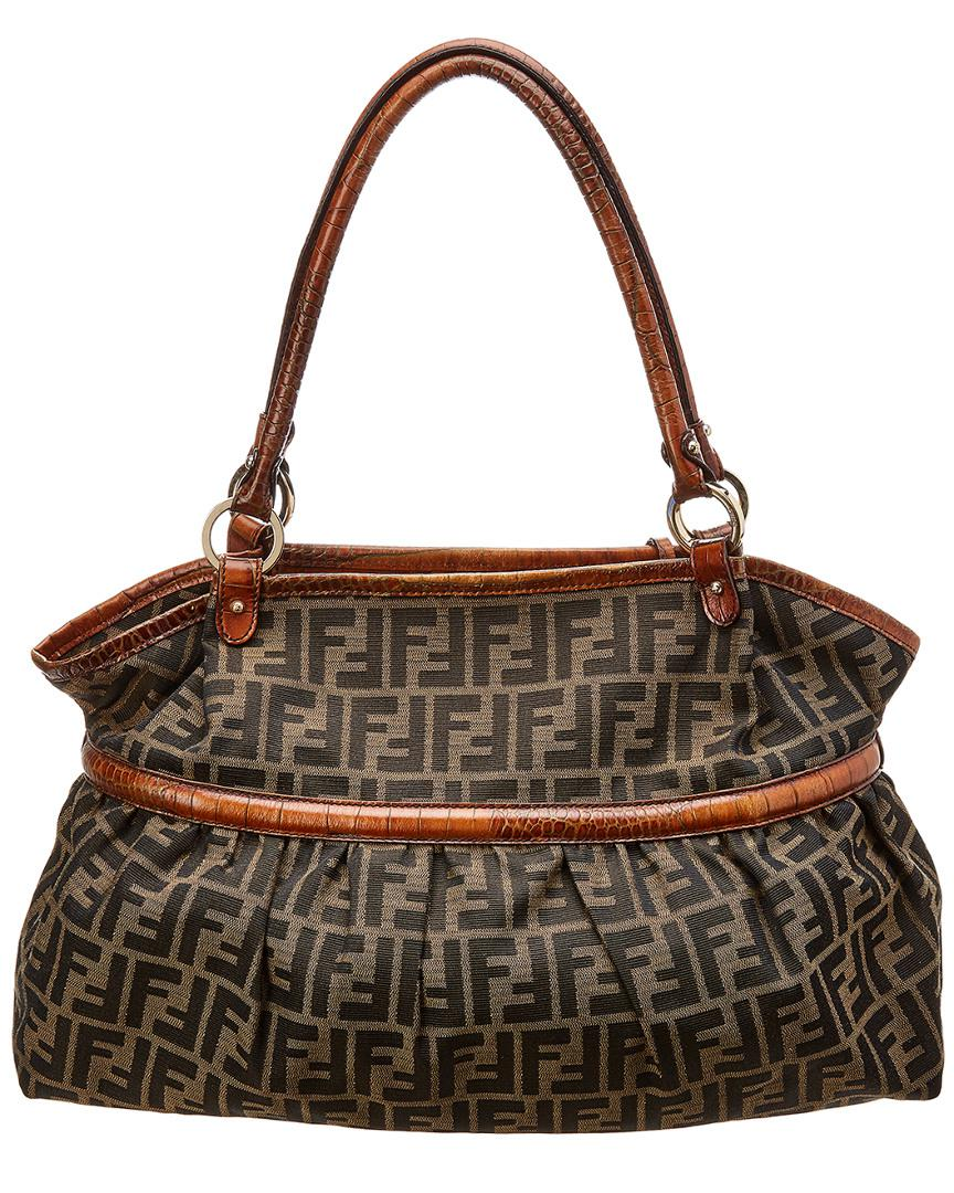 2cdecd20a8 Fendi Brown Zucca Canvas Chef Bag in Brown - Lyst