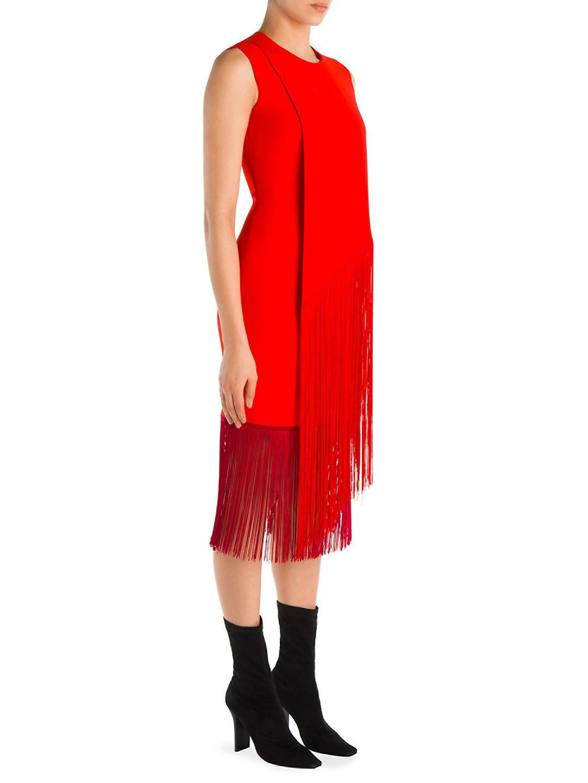 f4eb2775db4a1 Stella McCartney Suzanne Fringe Dress in Red - Lyst