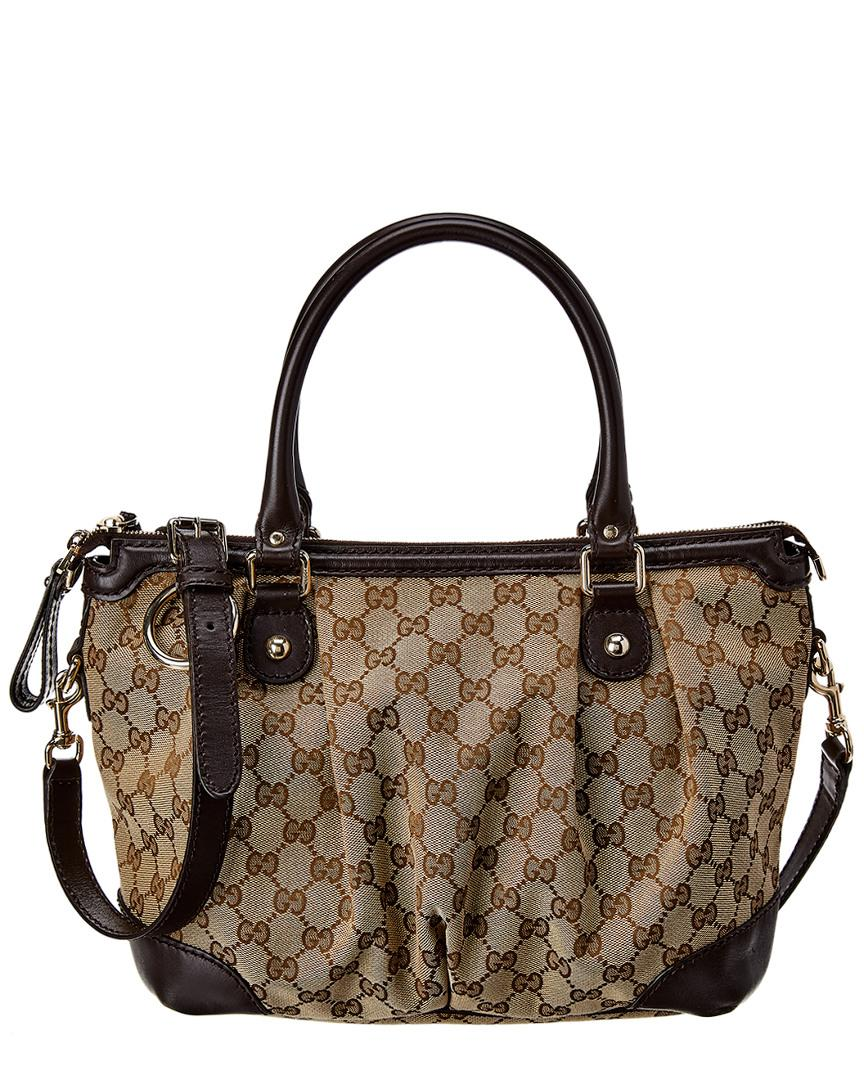 a9eb659c993 Lyst - Gucci Brown GG Canvas   Leather Sukey in Brown