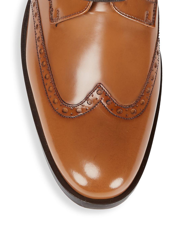 A.Testoni Leather Brogue Derbys in Cognac (Brown) for Men