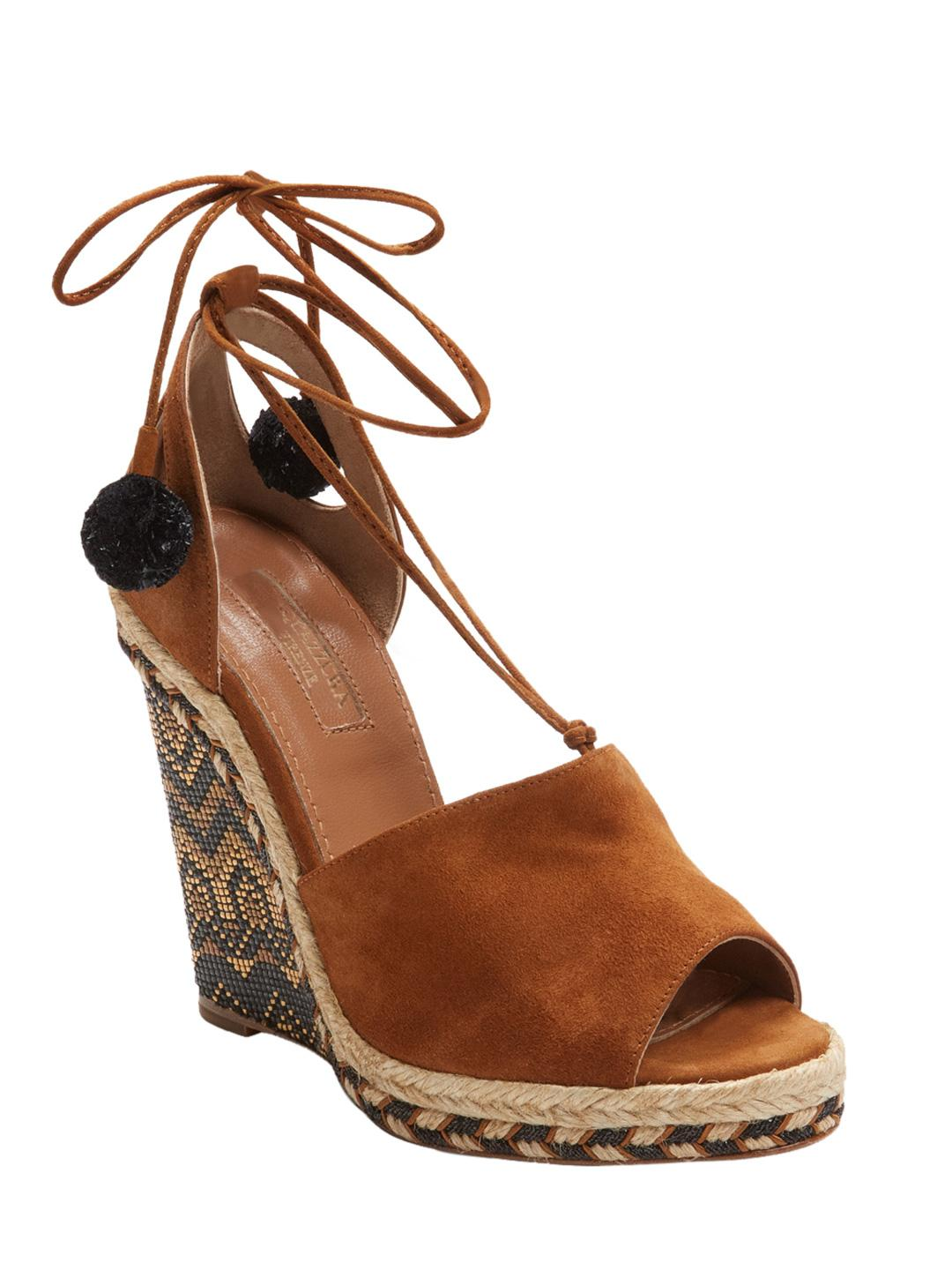 5dcced824f6 Aquazzura Palm Springs Wedge Espadrille 115 Sandal in Brown - Lyst