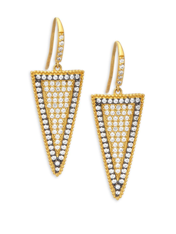 Freida Rothman Two Tone Pave Slice Drop Earrings NeLDVjT5So
