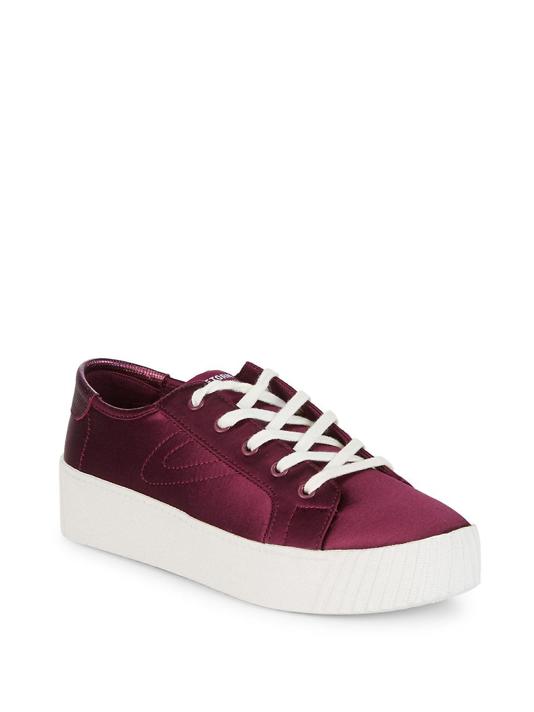 Tretorn Satin Lace-up Sneaker in Dark Red (Red)
