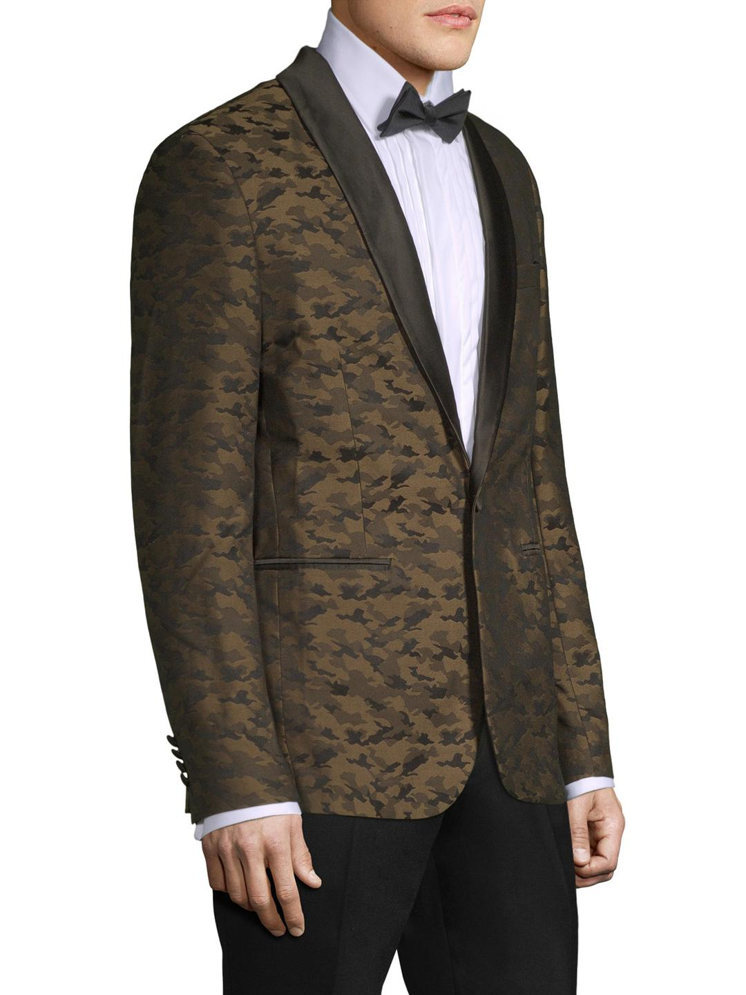 Aspetto Synthetic Camo Print Tuxedo Jacket in Brown for Men