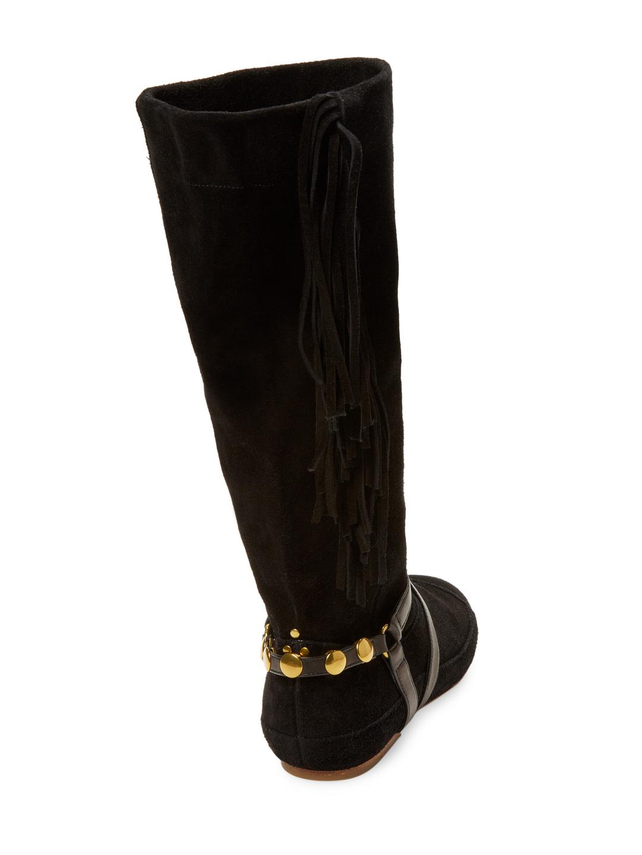 Jérôme Dreyfuss Suede Arizona Fringe Boots in Black