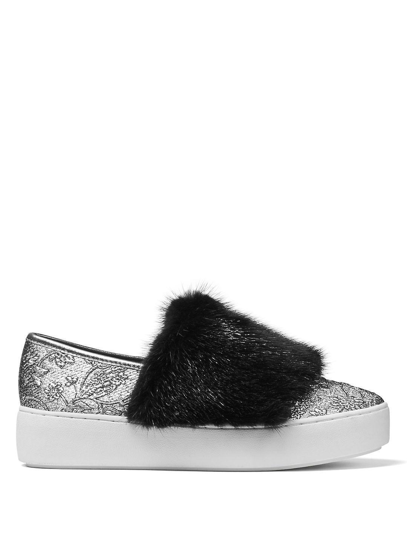 n5XiWuPS5Y Lorelai Mink Fur & Metallic Skate Sneakers LxwNEGT