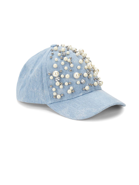 cf3d5fad49f3cb Betsey Johnson Faux Pearl Embellished Denim Baseball Cap in Blue - Lyst