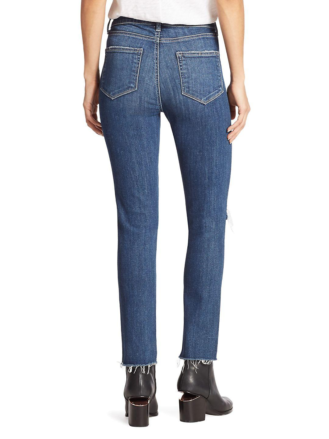 PAIGE Denim Hoxton High-rise Distressed Step Hem Ankle Jeans in Blue