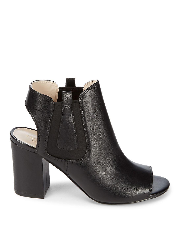 Cole Haan Leather Basel Shootie Ii Open Heel Booties in Black