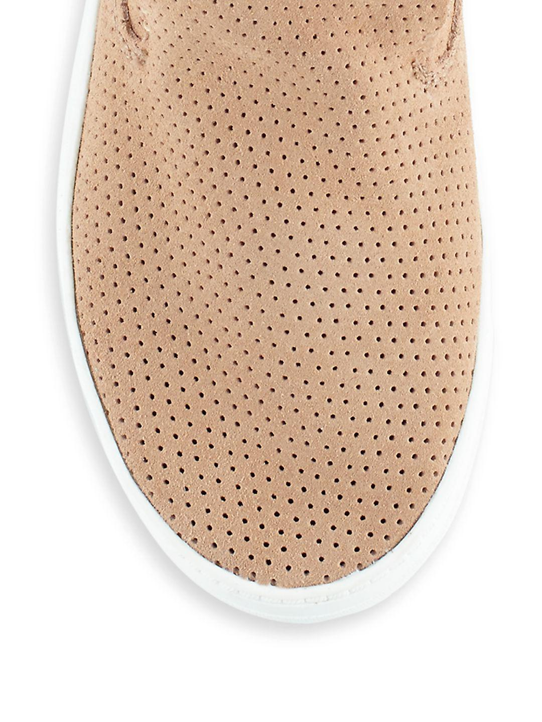 Dolce Vita Xai Perforated Suede Sneakers in Beige Suede (Natural)