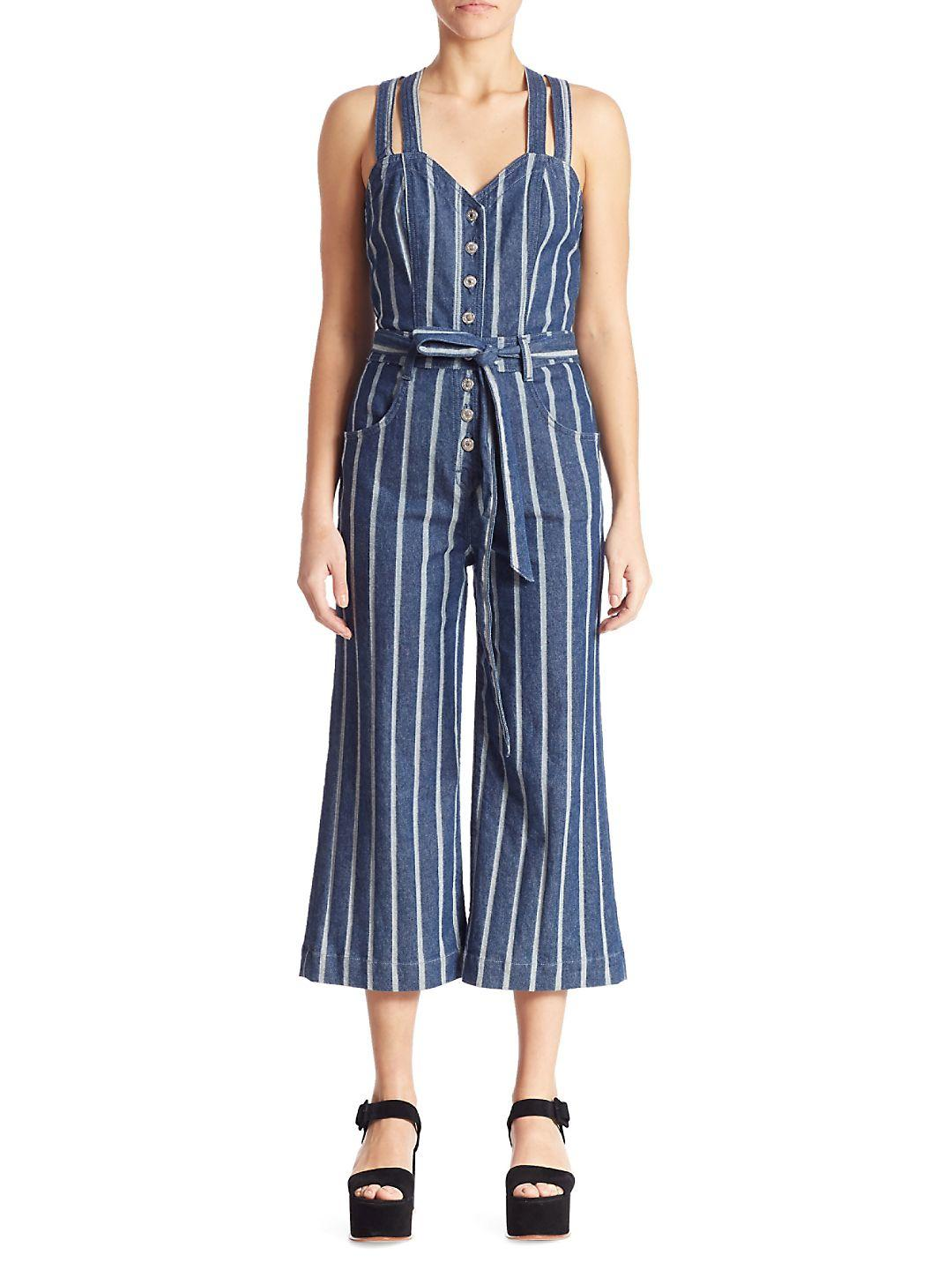 0e5301c770a Lyst - 7 For All Mankind Striped Denim Jumpsuit in Blue
