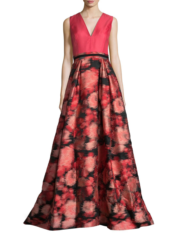 leaf printed drape gown - Red Carolina Herrera 2cZEe3