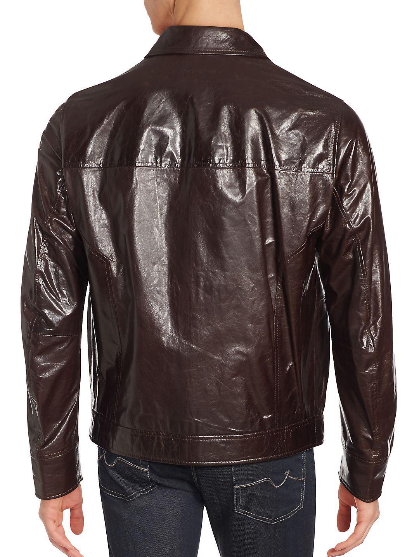 Porsche Design Leather Sports Trucker Natural Jacket for Men