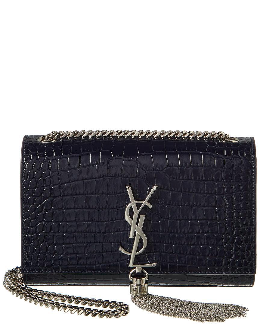 59ca7f9d6af Saint Laurent Small Kate Tassel Croc-embossed Leather Shoulder Bag ...