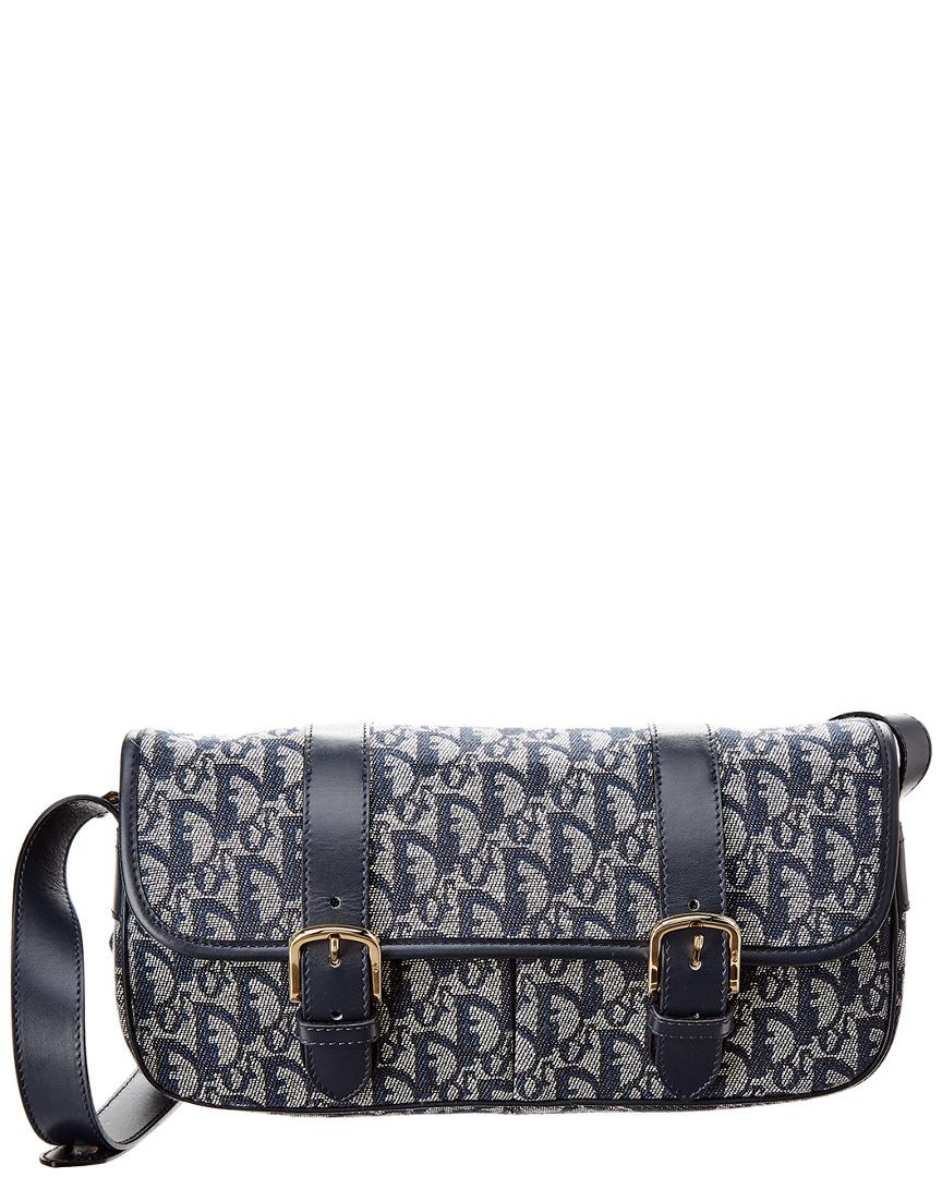 f2ccb4858b11 Lyst - Dior Navy Trotter Canvas Shoulder Bag in Blue
