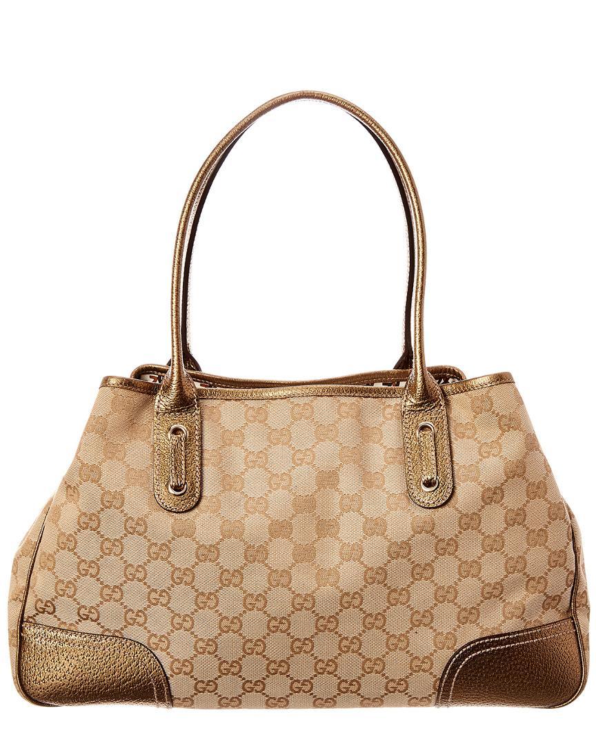 e654c13e8cc84b Lyst - Gucci Gold GG Canvas & Leather Princy Tote