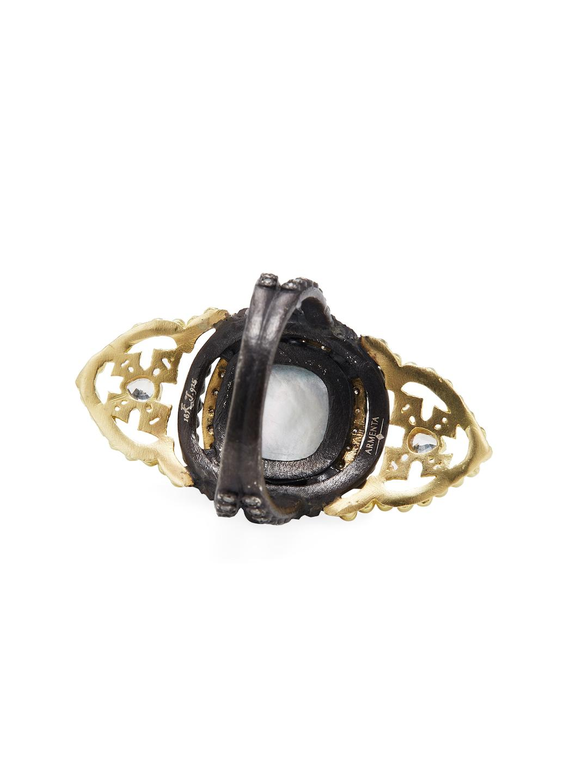 Armenta Old World 18k Gold, White Quartz Triplet & 0.66 Total Ct. Diamond Large Saddle Scroll Ring in Metallic
