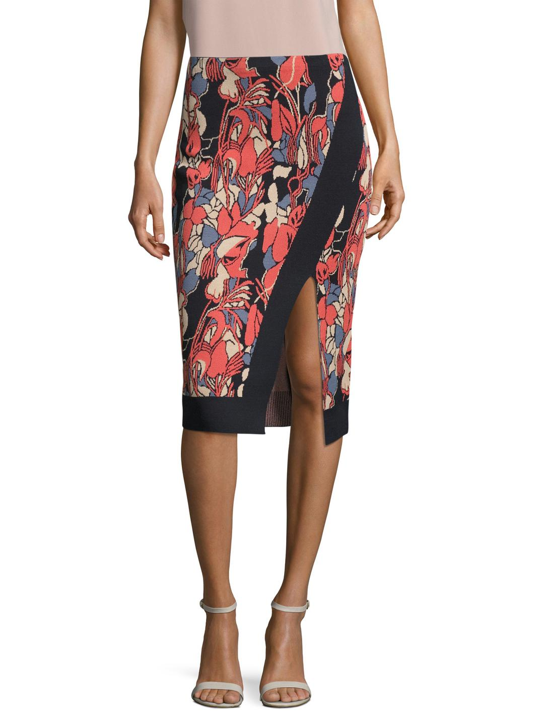 4d82a9a353f Lyst - RACHEL Rachel Roy Crossover Floral Intarsia Pencil Skirt in Red