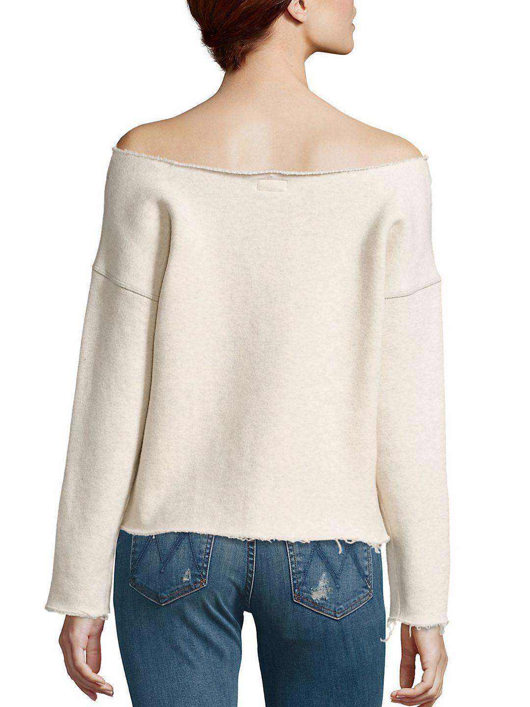 Mother Cotton Off-the-shoulder Sweatshirt in Ivory (White)