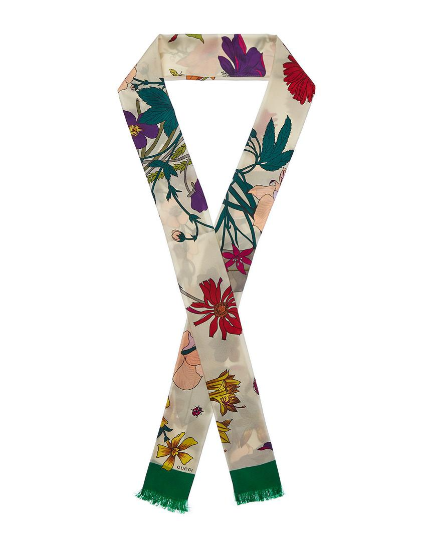 15be421e6f5 Gucci Green Gothic Floral Silk Skinny Scarf