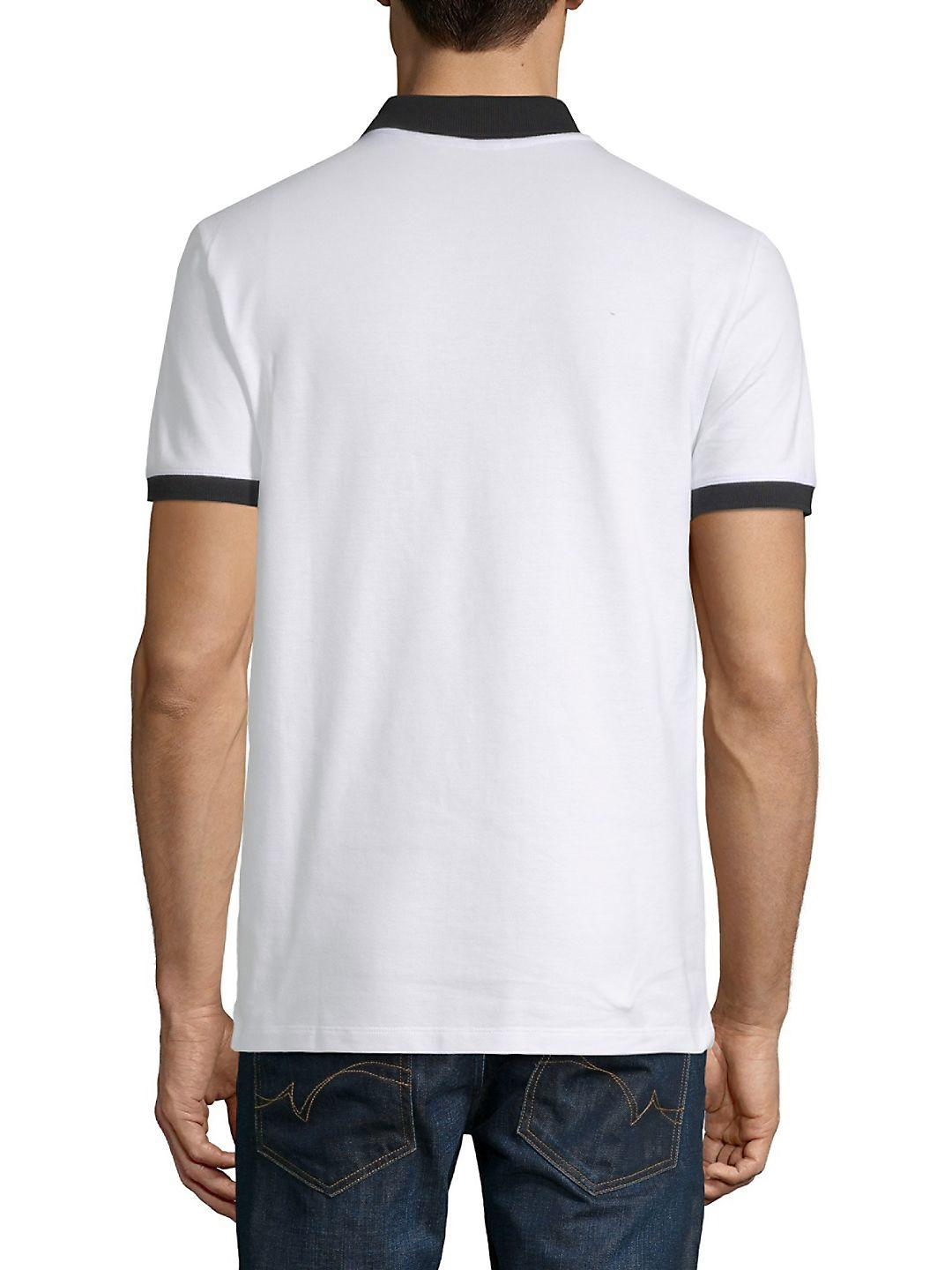 Versace Cotton Contrast Polo Shirt in Blue Print (White) for Men