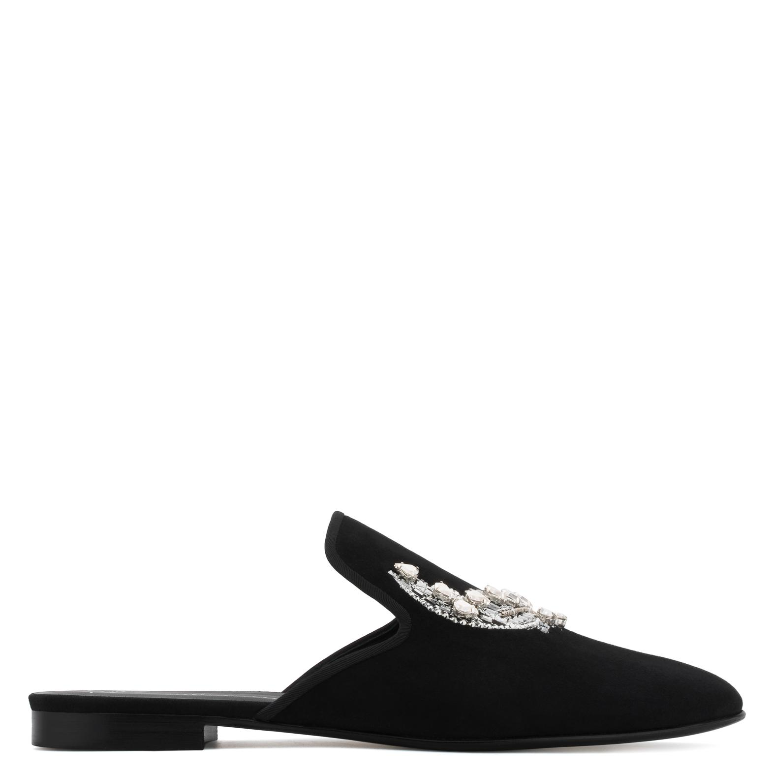 Giuseppe Zanotti Suede flat slipper with crystals MYRON 4Ztar9E1M