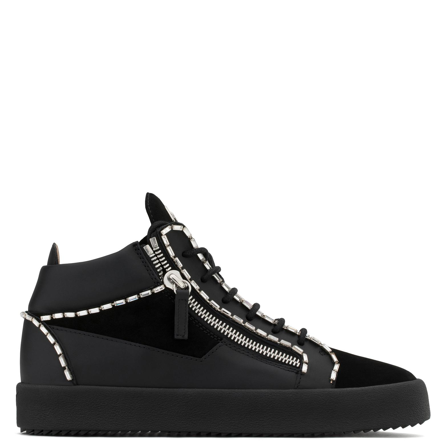 Giuseppe Zanotti Calf leather and suede mid-top sneaker with crystals CRAIG wdatD
