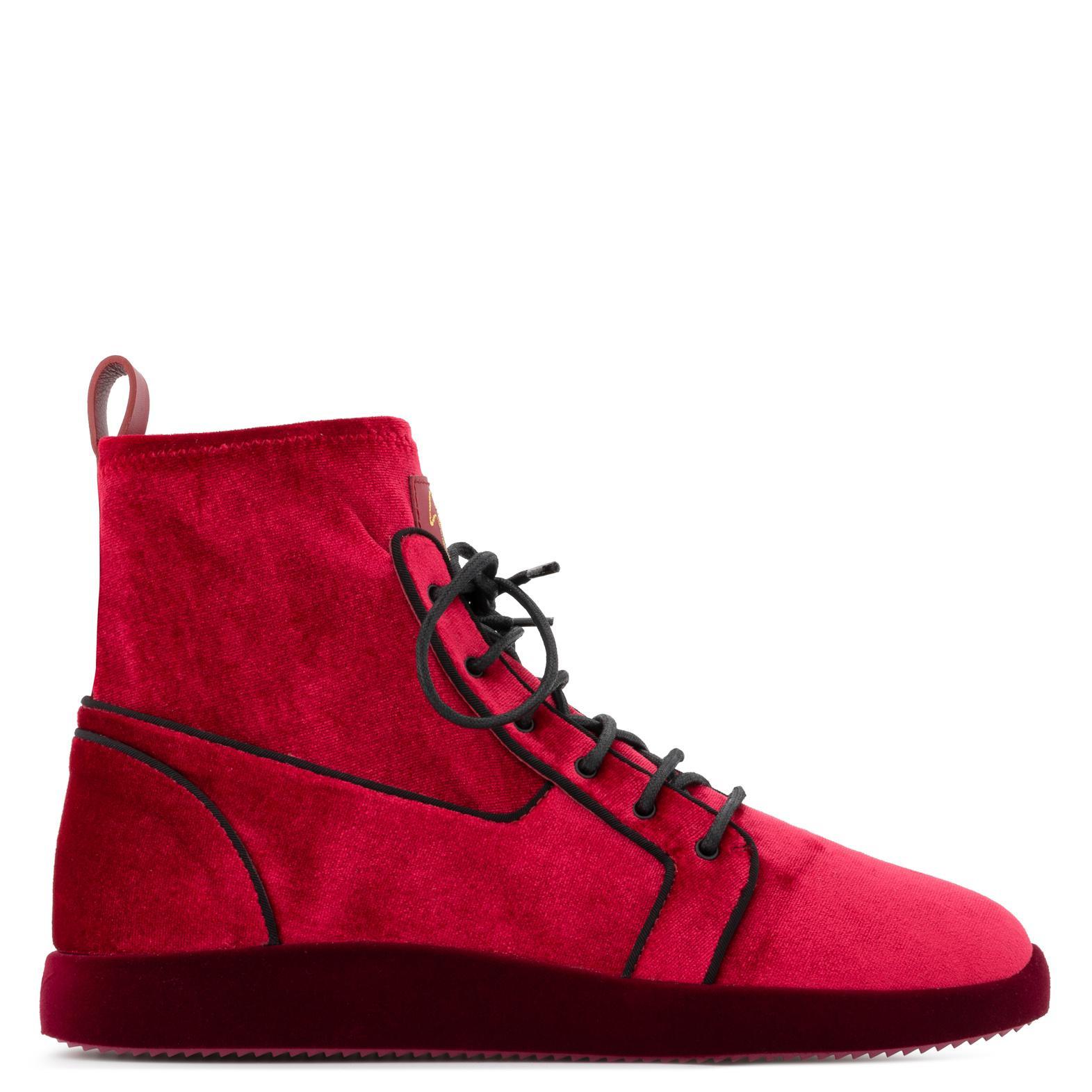 755a66b7530 Lyst - Giuseppe Zanotti Cesar Velvet Sneakers Red in Red for Men ...