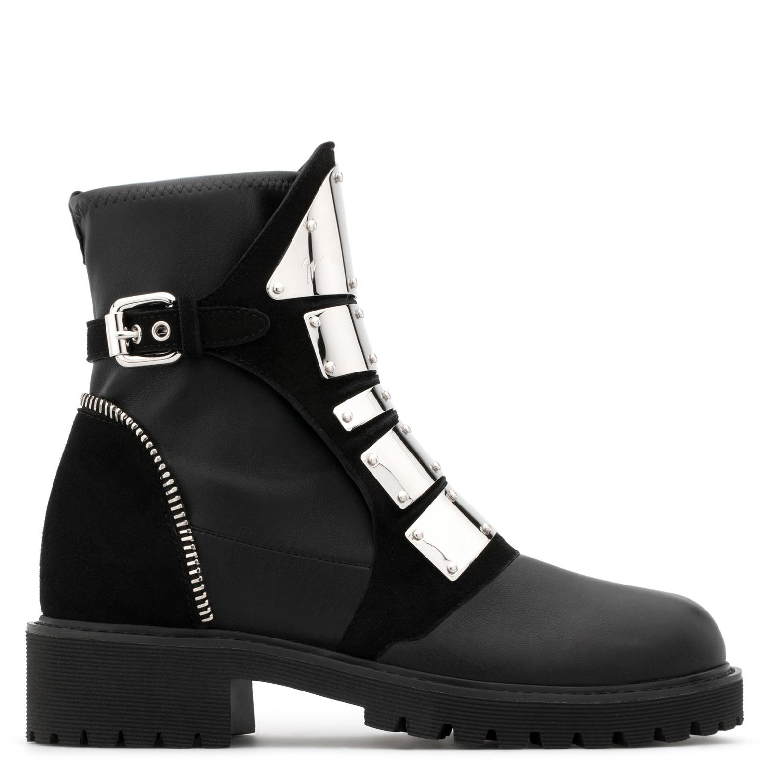 Giuseppe ZanottiStretch leather boot with metal bars REGAN