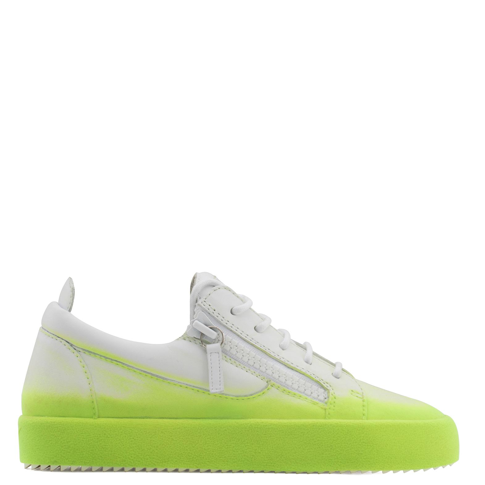 Giuseppe Zanotti White calfskin leather low-top sneaker with yellow flocking patina NEW UNFINISHED Shopping Online Free Shipping Outlet Locations Sale Explore Buy Cheap With Credit Card Discount Footaction Rc9AUrlj